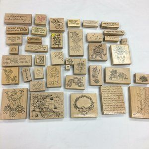 Rubber Mounted Lot of Aprox 40 Stamps Scrapbooking